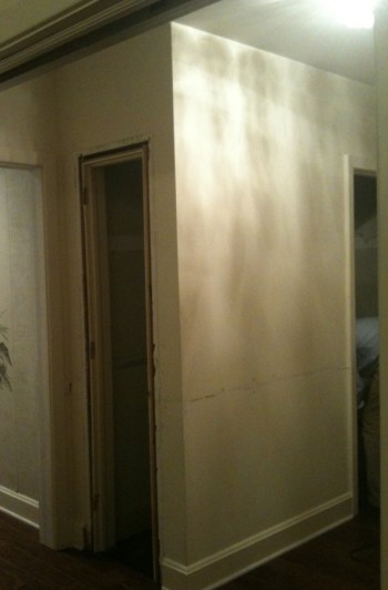 Here is the foyer closet we removed to make a bigger, brighter entrance for guests.